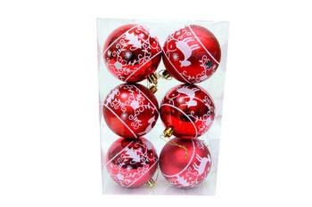 - Çam Ağacı Süslü Kırmızı Top 8 cm 6'lı Set (1)