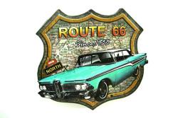 MNK - Dekoratif 3D Route66&Mavi Chevrolet Temalı Duvar Panosu