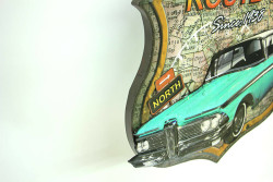 MNK - Dekoratif 3D Route66&Mavi Chevrolet Temalı Duvar Panosu (1)