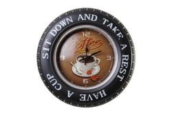MNK - Dekoratif Araba Tekerleği Coffea TimeTemalı Saatli Led Işıklı