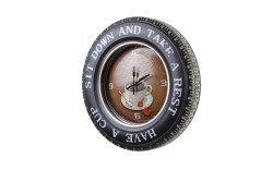 MNK - Dekoratif Araba Tekerleği Coffea TimeTemalı Saatli Led Işıklı (1)