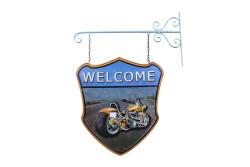 MNK - Dekoratif Çift Yönlü Welcome&Motor Temalı Ferforje Askı