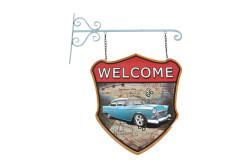 MNK - Dekoratif Çift Yönlü Welcome&Motor Temalı Ferforje Askı (1)