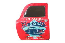 MNK - Dekoratif Classic Garage Temalı Kırmızı Araba Kapısı Ayna