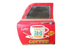 MNK - Dekoratif Coffee Temalı Kırmızı Araba Kapısı Ayna