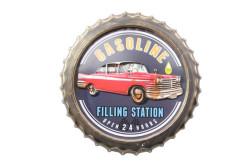 MNK - Dekoratif Kapak Modeli Gasoline& Chevrolet Temalı Led Işıklı lı Duvar Panosu