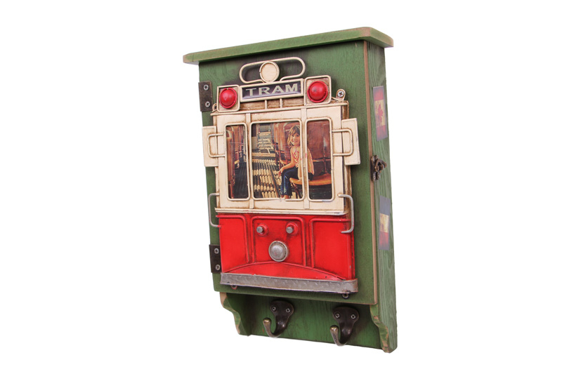 Dekoratif Metal Anahtarlık Çerçeveli Tramvay Dekorlu