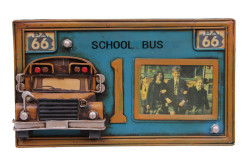 Mnk - Dekoratif Metal Çerçeve Okul Otobüsü Dekorlu