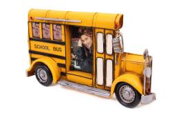 Mnk - Dekoratif Metal Çerçeve Okul Otobüsü Temalı (1)