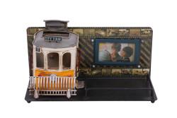 Mnk - Dekoratif Metal Kalemlik Çerçeveli Tramvay Temalı