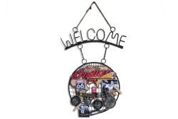 Mnk - Dekoratif Metal Kapı Welcome Motosiklet Dekorlu