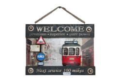 MNK - Dekoratif Metal Kapı Yazısı Tramvay Dekorlu