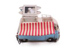 Mnk - Dekoratif Metal Minibüs Çerçeveli, Kalemlik ve Tenteli