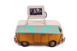 Mnk - Dekoratif Metal Minibüs Çerçeveli, Kumbara ve Tenteli