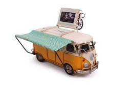 Mnk - Dekoratif Metal Minibüs Çerçeveli, Kumbara ve Tenteli (1)