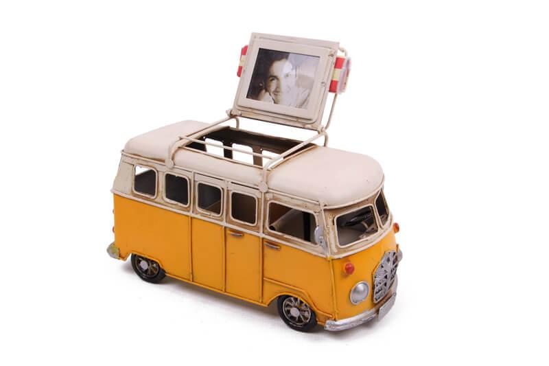 Dekoratif Metal Minibüs Kalemlik ve Çerçeveli