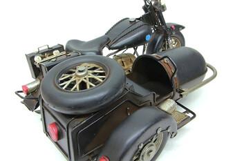 Dekoratif Metal Motosiklet Sepetli - Thumbnail