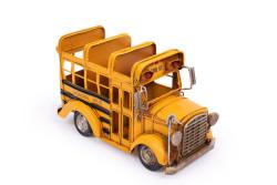 MNK - Dekoratif Metal Araba Okul Otobüsü Kalemlik