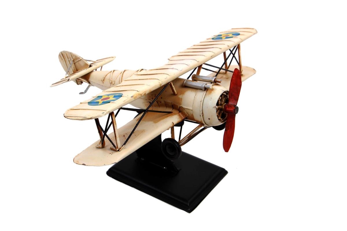 Dekoratif Metal Uçak 2 Kanatlı