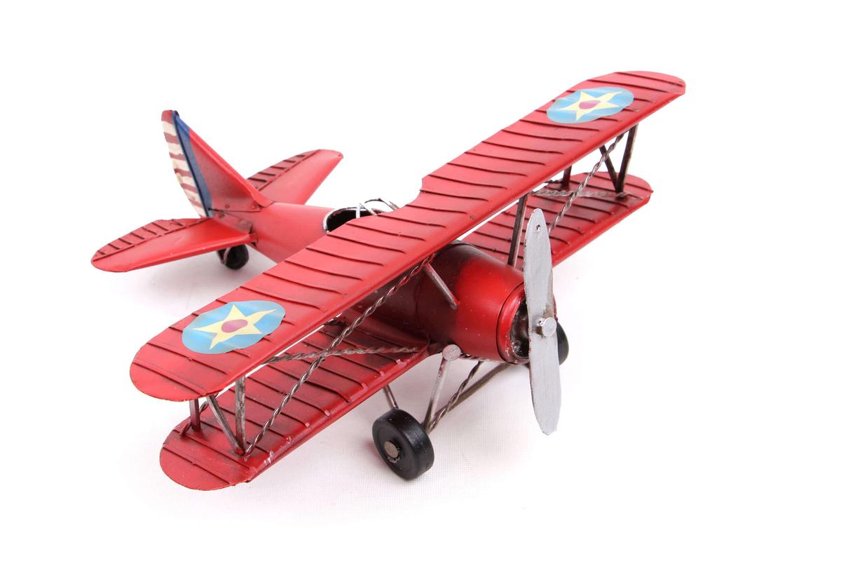 Dekoratif Metal Uçak Çift Kanatlı