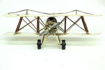 Dekoratif Metal Uçak Çift Kanatlı - Thumbnail