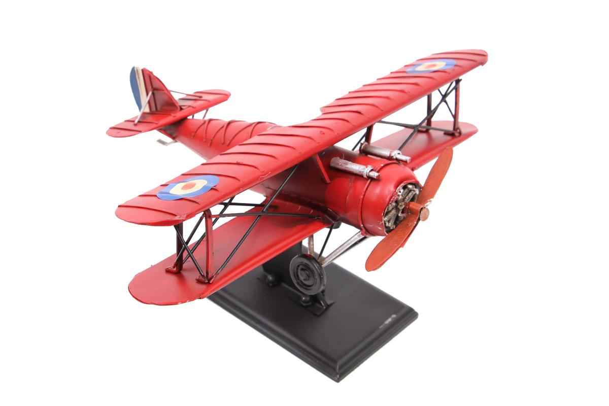 Dekoratif Metal Uçak Çift Kanatlı Standlı