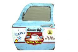 MNK - Dekoratif Route 66&CoffeeTemalı Mavi Araba Kapısı Ayna