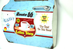 Mnk - Dekoratif Route 66&CoffeeTemalı Mavi Araba Kapısı Ayna (1)