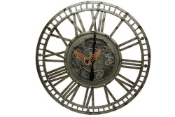 Crownwell - Yuvarlak Roma Rakamlı Metaloksit Çarklı Metal Duvar Saati