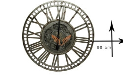 CROWNWELL - Yuvarlak Roma Rakamlı Metaloksit Çarklı Metal Duvar Saati (1)