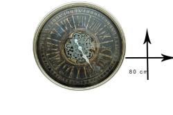 CROWNWELL - Yuvarlak Roma Rakamlı Yeşiloksit Çarklı Metal Duvar Saati (1)