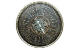 Crownwell - Yuvarlak Roma Rakamlı Yeşiloksit Çarklı Metal Duvar Saati