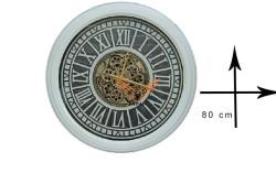 Crownwell - Yuvarlak Roma Rakamlı Beyazoksit Çarklı Metal Duvar Saati (1)