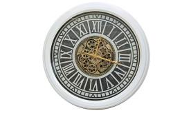 Crownwell - Yuvarlak Roma Rakamlı Beyazoksit Çarklı Metal Duvar Saati