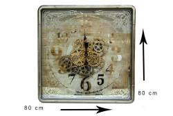 Crownwell - Kare Roma Rakamlı Spintime Aynalı Yeşiloksit Çarklı Metal Duvar Saati (1)