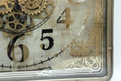 Kare Roma Rakamlı Spintime Aynalı Yeşiloksit Çarklı Metal Duvar Saati - Thumbnail