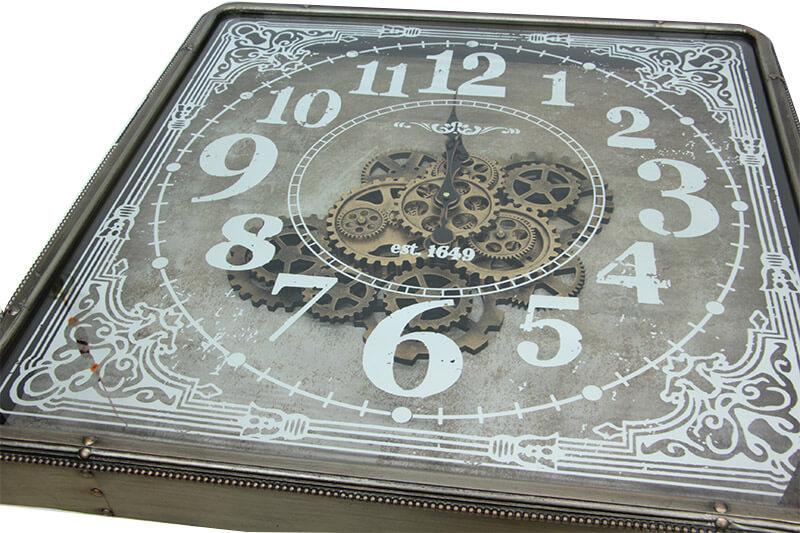 Kare Roma Rakamlı Spintime Aynalı Yeşiloksit Çarklı Metal Duvar Saati