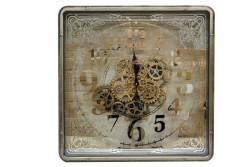 Crownwell - Kare Roma Rakamlı Spintime Aynalı Yeşiloksit Çarklı Metal Duvar Saati