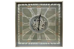 CROWNWELL - Kare Roma Rakamlı Yeşiloksit Çarklı Metal Duvar Saati