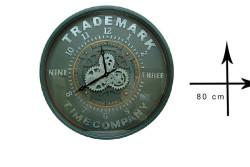 Crownwell - Yuvarlak Roma Rakamlı Time Company Bazaltoksit Çarklı Metal Duvar Saati (1)