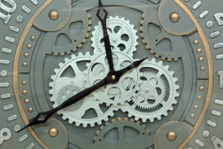 Yuvarlak Roma Rakamlı Time Company Bazaltoksit Çarklı Metal Duvar Saati - Thumbnail
