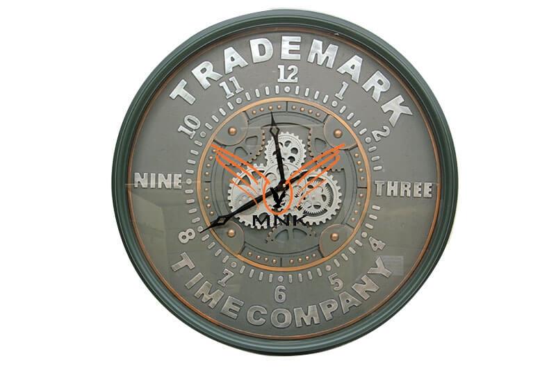 Yuvarlak Roma Rakamlı Time Company Bazaltoksit Çarklı Metal Duvar Saati