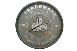CROWNWELL - Yuvarlak Roma Rakamlı Time Company Bazaltoksit Çarklı Metal Duvar Saati