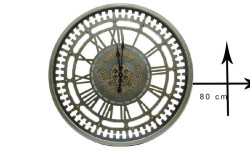 Crownwell - Yuvarlak Spintime Roma Rakamlı Yeşiloksit Çarklı Metal Duvar Saati (1)
