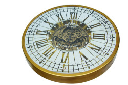 CROWNWELL - Yuvarlak Roma Rakamlı Goldoksit Çarklı Metal Duvar Saati