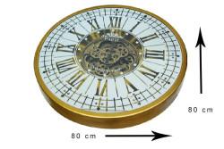 CROWNWELL - Yuvarlak Roma Rakamlı Goldoksit Çarklı Metal Duvar Saati (1)