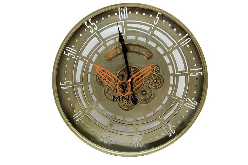 Yuvarlak Spintime Yeşiloksit Çarklı Metal Duvar Saati