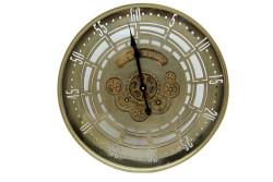 Crownwell - Yuvarlak Spintime Yeşiloksit Çarklı Metal Duvar Saati
