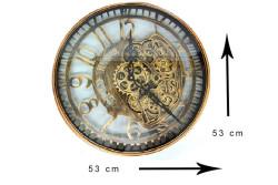 CROWNWELL - Yuvarlak Spintime Mat Siyah Metal Çarklı Duvar Saati (1)