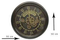 CROWNWELL - Yuvarlak Spintime Yeşiloksit Çarklı Metal Duvar Saati (1)